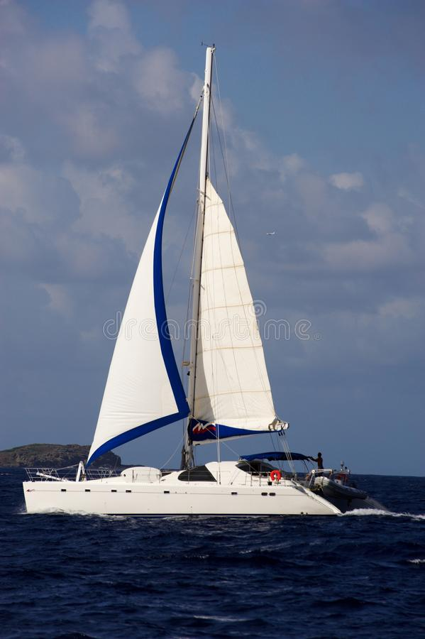 Catamaran in the caribbeans stock images