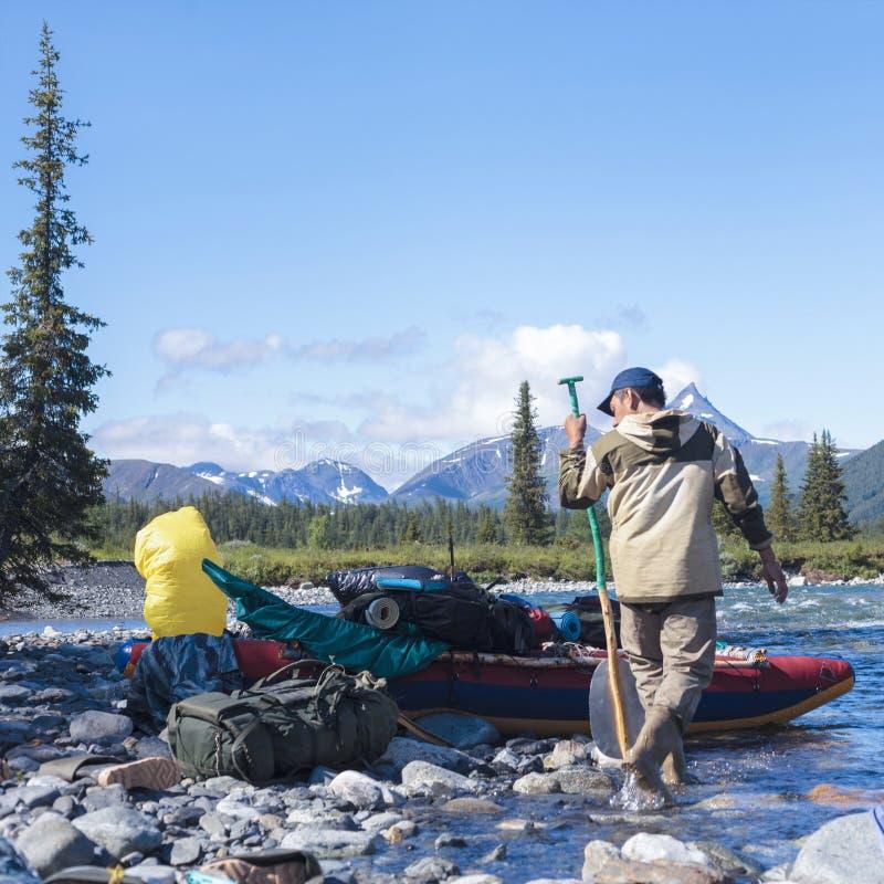 Catamaran dla flisactwa na tajgi rzece Urals krajobraz góry ural obraz royalty free