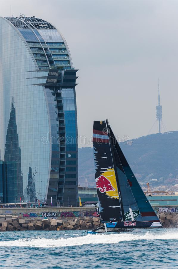Extreme Sailing Series, Barcelona. Catamaran GC-32 sailing in front of the w hatel , Barcelona royalty free stock image