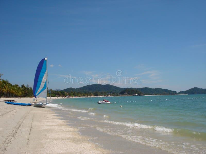 Catamaran in het strand stock afbeeldingen