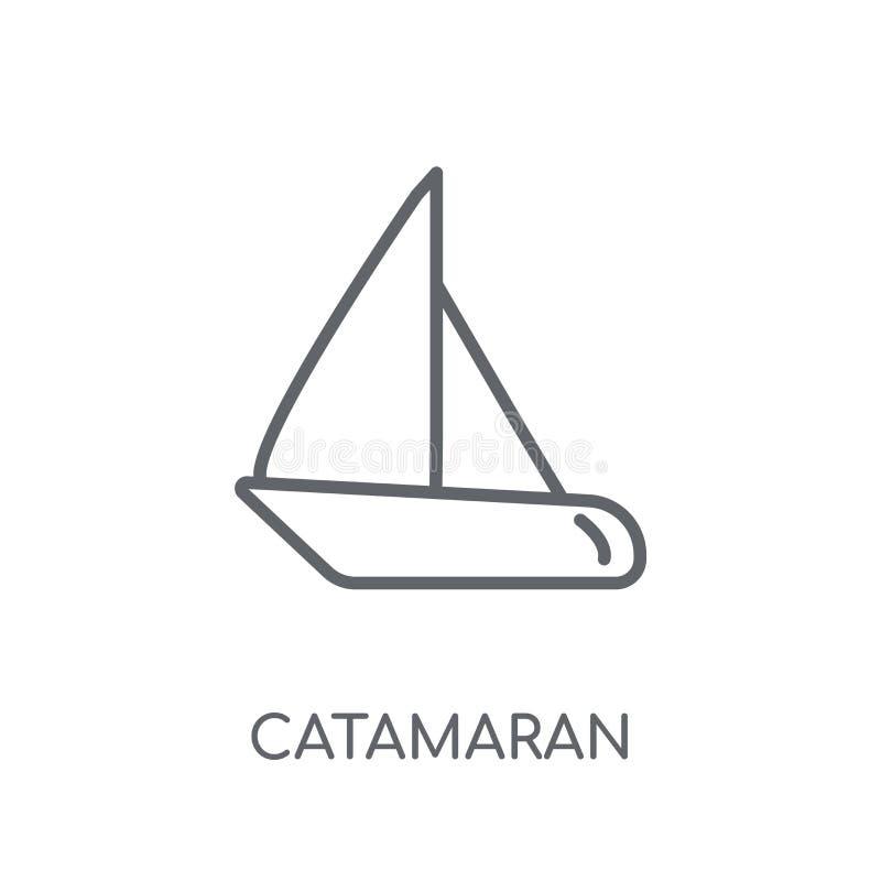 catamaran lineair pictogram Modern het embleemconcept van de overzichtscatamaran  royalty-vrije illustratie