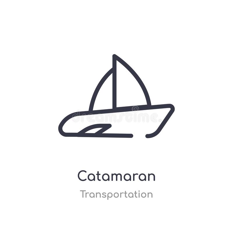 Catamaran outline icon. isolated line vector illustration from transportation collection. editable thin stroke catamaran icon on. White background stock illustration