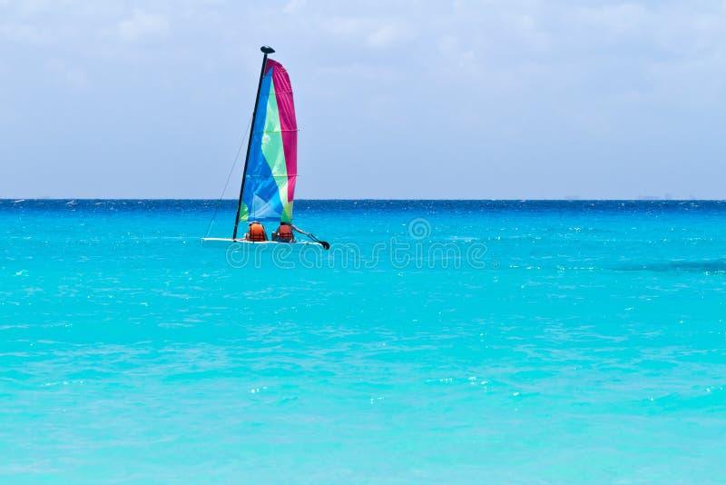 Catamaran Sail On The Turquoise Caribbean Sea Stock Photos