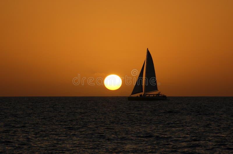 Catamaran sunset stock photography