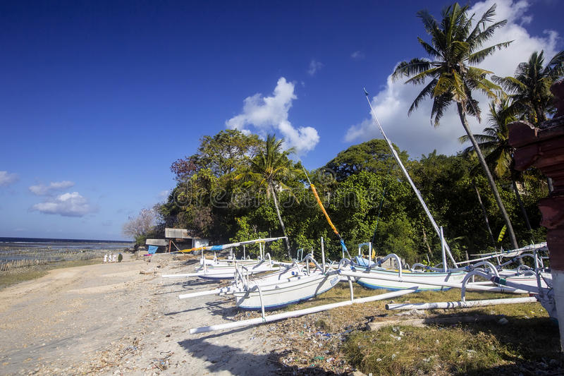 Download Catamarani Delle Industrie Della Pesca Sulla Spiaggia, Nusa Penida, Indonesia Immagine Stock - Immagine di cielo, nave: 55359851