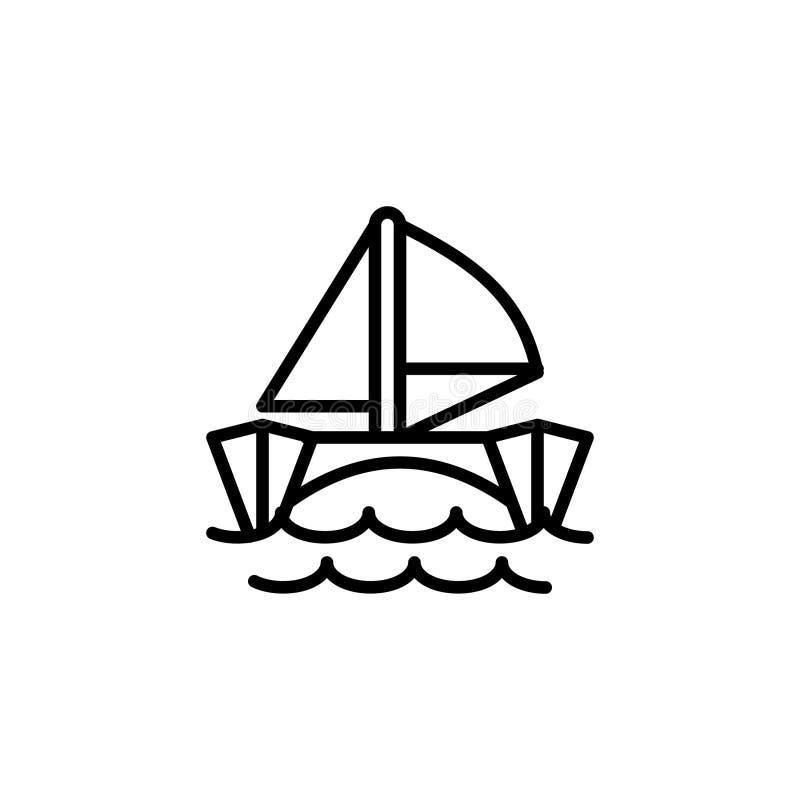 catamaranpictogram het pictogram vectorillustratie van de lijnstijl royalty-vrije illustratie