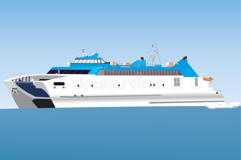Catamaranveerboot vector illustratie