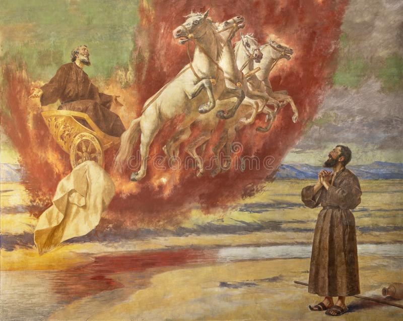 CATANE, ITALIE : Le prophète Elias de fresque montant dans le ciel dans le char du feu dans le della Madonna del Carmine de Santu photos libres de droits