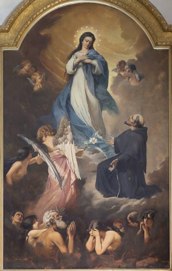CATANIË, ITALIË, 2018: Het schilderen van Virigin Mary en de zielen in vagevuur in kerk Chiesa Di San Francesco D 'Assisi stock foto's