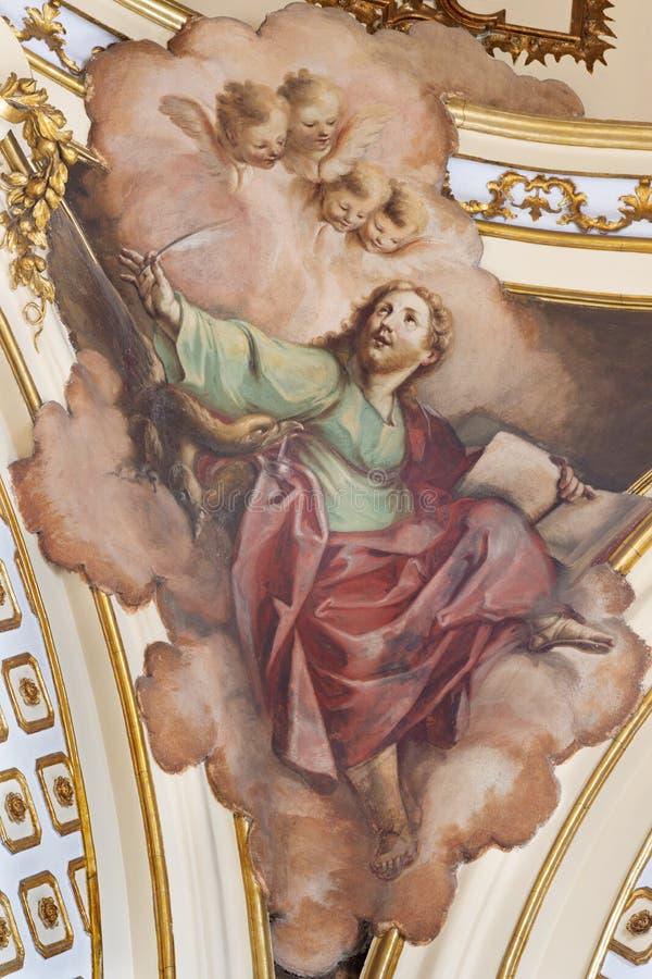 CATANI?, ITALI?, 2018: Het schilderen van Virigin Mary en de zielen in vagevuur in kerk Chiesa Di San Francesco D ?Assisi royalty-vrije stock foto