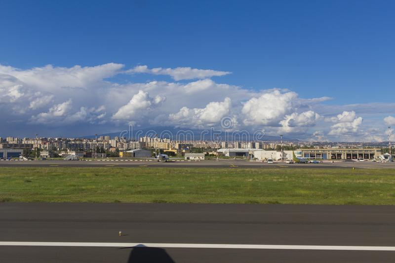 Catania airport, ready to take off. Catania airport - picture made from airplane royalty free stock image