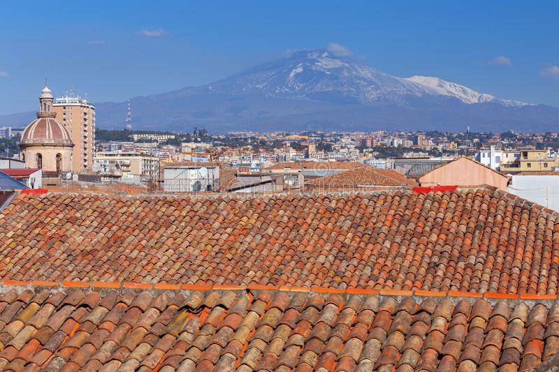Catania Church of St. Agatha. Aerial view of the city from the dome of the church of St. Agatha. Catania Ittalia. Sicily royalty free stock image