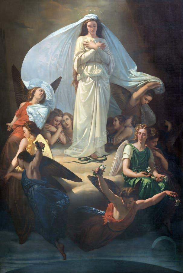 CATANIA, ITÁLIA - 7 DE ABRIL DE 2018: A pintura da concepção imaculada na igreja Chiesa di San Placido por Michele Rapisardi 1857 imagem de stock royalty free