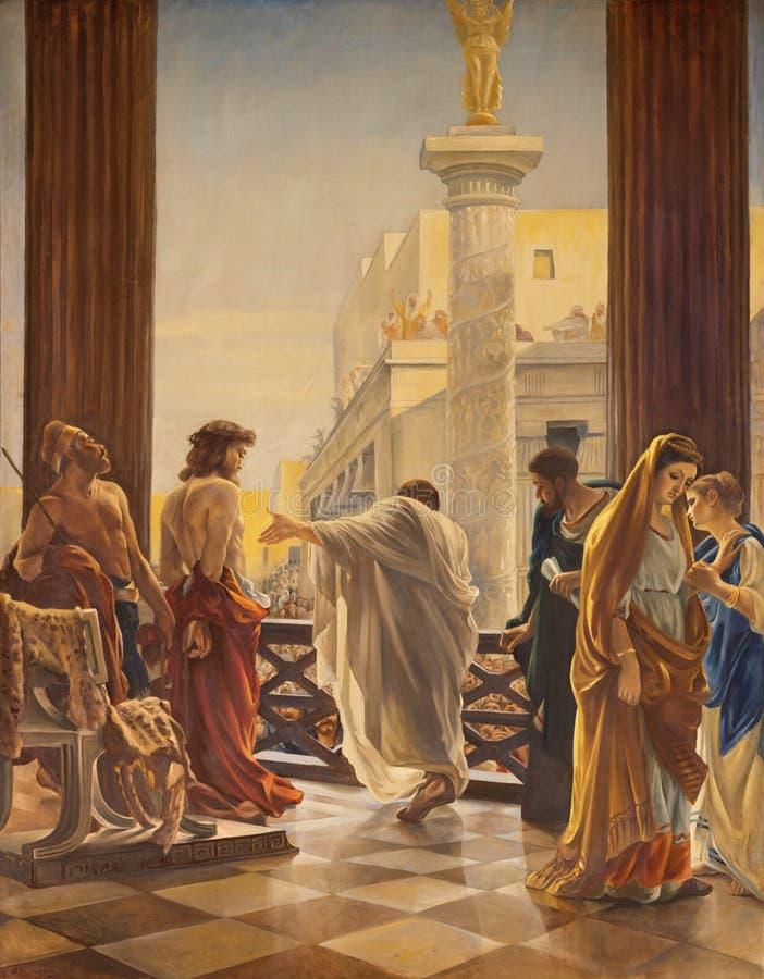 CATANIA, ITÁLIA, 2018: Jesus antes de Pilate no dei Miracoli de Santa Maria dos di de Chiesa da igreja pelo artista com os inicia fotografia de stock royalty free