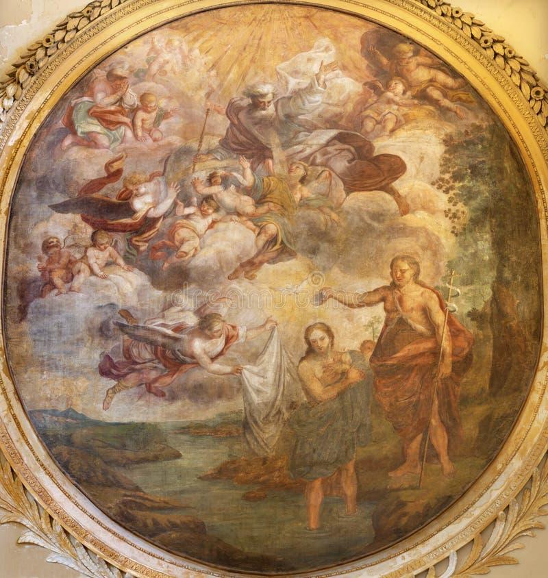 CATANIA, ITALIË - APRIL 7, 2018: The fresco to The Batptism of Jesus in Cattedrale di Sant'Agata door Giovanni Tusccari, 1667 - 1 royalty-vrije stock foto