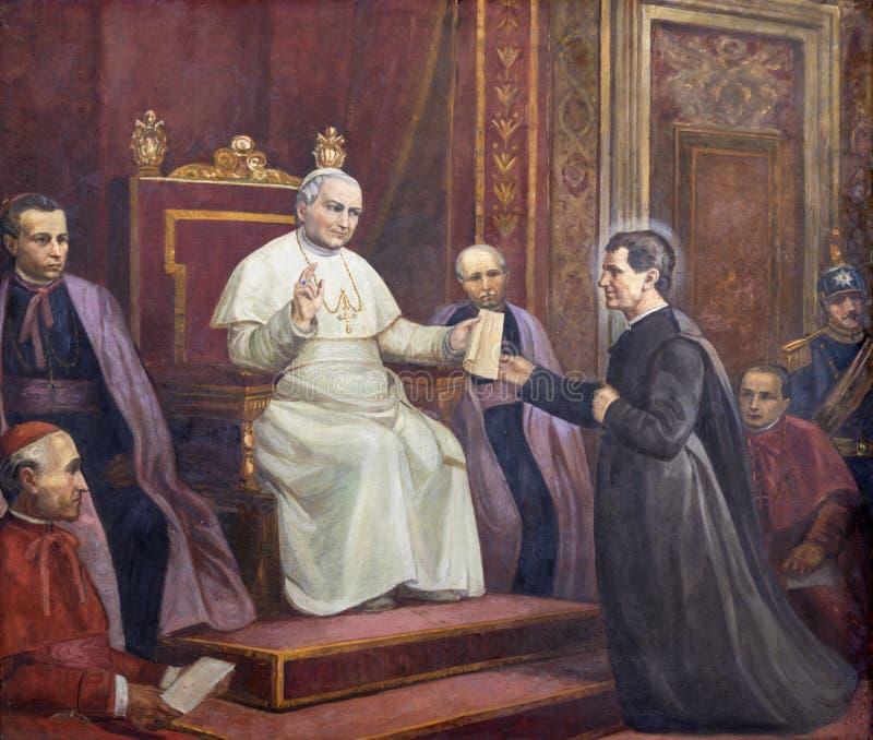 CATANIA, ITALIA - 8 APRILE 2018: Il dipinto di Don Bosco davanti al Papa fondatore dell'ordine dei salesiani immagine stock