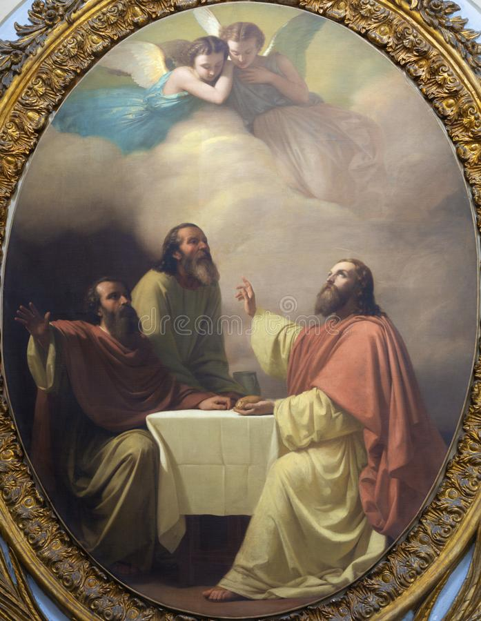 CATANIA, ITALIA - 7 APRILE 2018: La pittura della cena di Jesu con i discepoli di Emmaus in chiesa Chiesa di San Placido fotografia stock libera da diritti