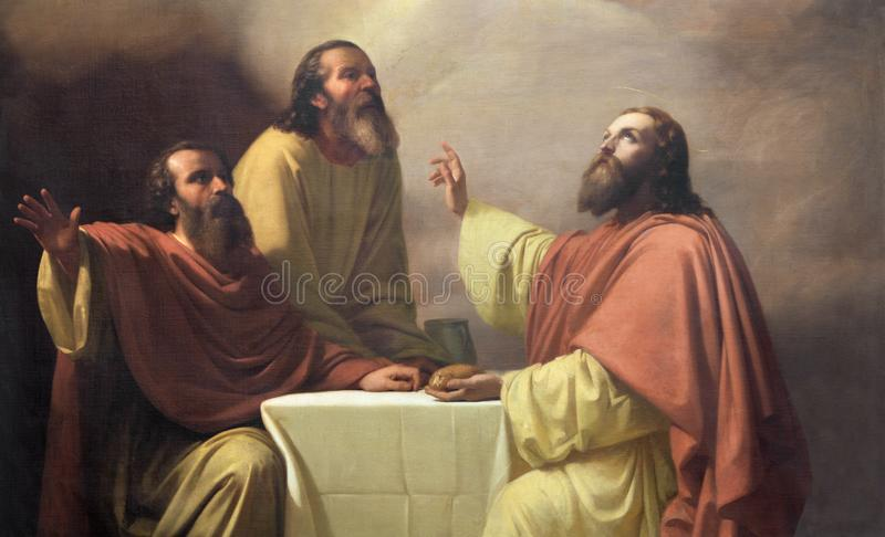 CATANIA ITALIEN - APRIL 7, 2018: Detaljen av målning av den Jesu kvällsmålet med lärjungarna av Emmaus i kyrkliga Chiesa di San P royaltyfria foton