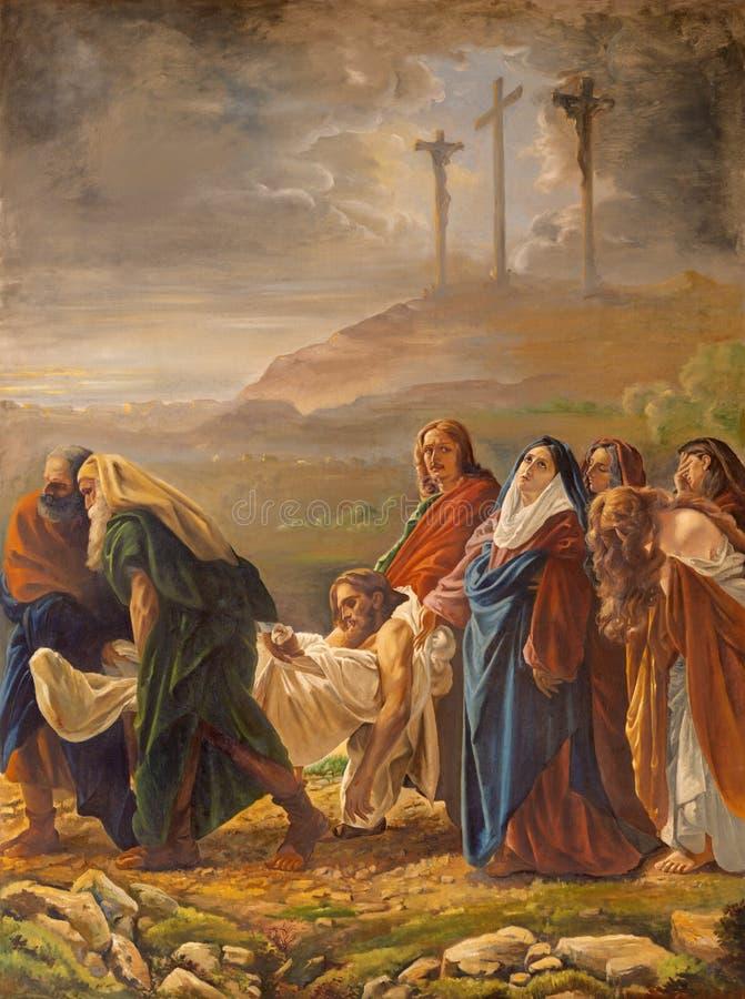 CATANIA, ITALIEN - 8. APRIL 2018: Die Beerdigung von Jesus in Kirche Chiesa-Di Santa Maria-dei Miracoli durch Künstler mit den in lizenzfreies stockfoto