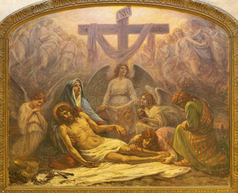 CATANIA ITALIEN - APRIL 7, 2018: Målningen av avlagring av den arga pietaen i kyrkliga Chiesa San Nicolo av Alessandro Abate arkivfoto