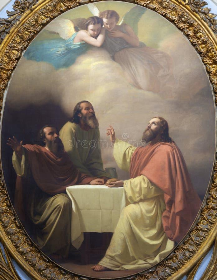 CATANIA ITALIEN - APRIL 7, 2018: Målningen av den Jesu kvällsmålet med lärjungarna av Emmaus i kyrkliga Chiesa di San Placido royaltyfri fotografi