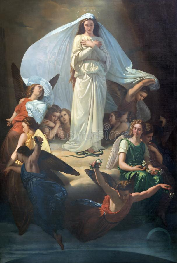 CATANIA ITALIEN - APRIL 7, 2018: Målningen av den obefläckade befruktningen i kyrkliga Chiesa di San Placido av Michele Rapisardi royaltyfri bild