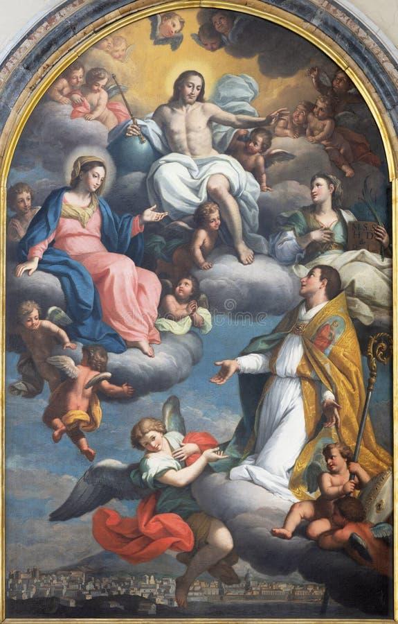 CATANIA ITALIEN - APRIL 7, 2018: Paintngen Resurected Jesus, oskuld Mary och St Agatha i apoteos av st Emygdius Emidio arkivfoton