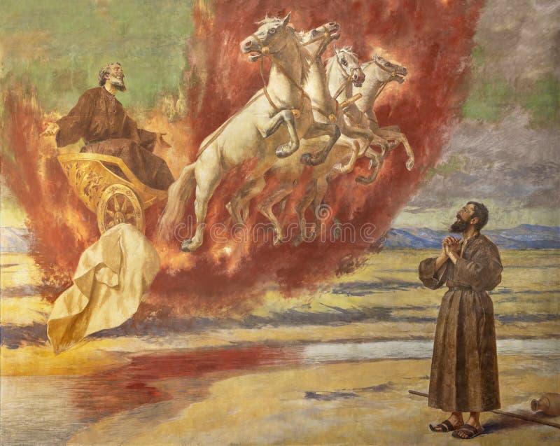 CATANIA, ITALIEN: Der Fresko Prophet Elias, der in Himmel im Kampfwagen des Feuers in Santuario-della Madonna Del Carmine aufstei lizenzfreie stockfotos