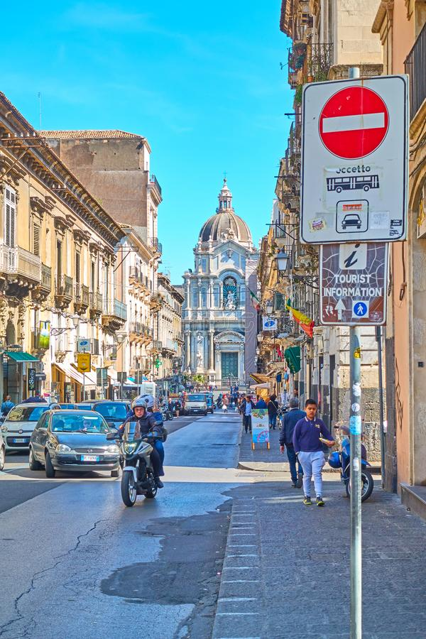 Giuseppe Garibaldi street in Catania royalty free stock photography