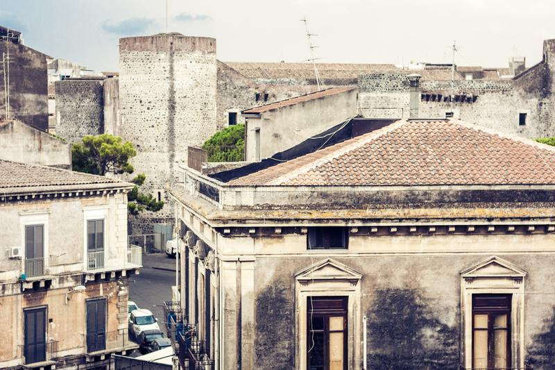 Catania rooftops, aerial cityscape, traditional architecture of Sicily, Southern Italy.  royalty free stock photography