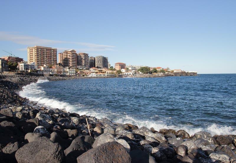 catania seafront arkivbilder