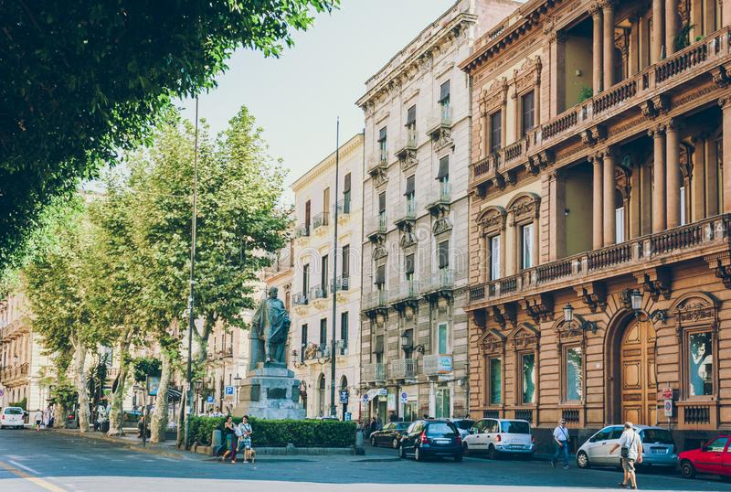 Catania, Sicily – august 14, 2018: people walk on historical street of the city, travel to Italy.  royalty free stock photos