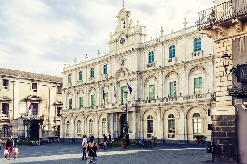 Catania, Sicily – august 8, 2018: people walk on historical street of the city, travel to Italy. / stock photos