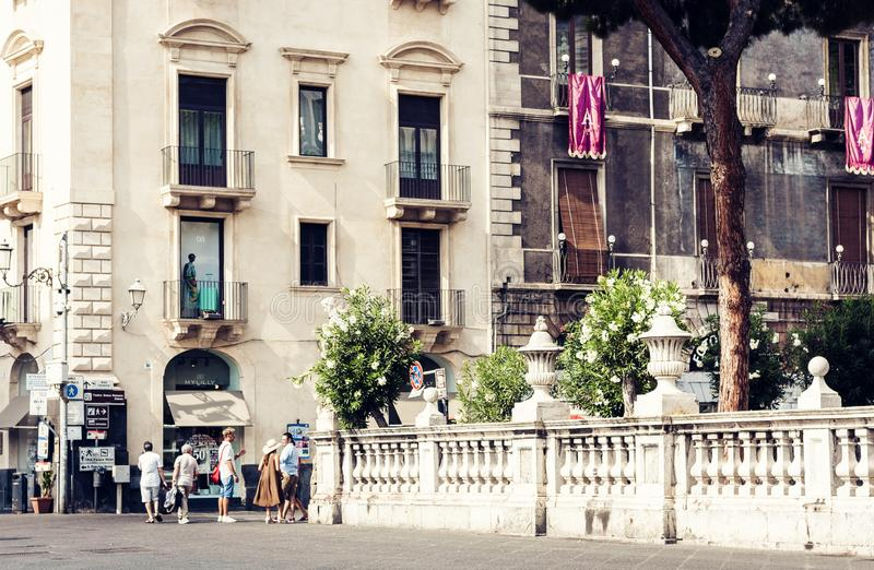 Catania, Sicily – august 08, 2018: people walk on historical street of the city, travel to Italy. People walk on historical street of the city, travel to royalty free stock photo