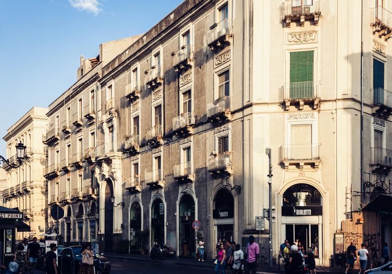 Catania, Sicily – august 09, 2018: people walk on historical street of the city, travel to Italy. People walk on historical street of the city, travel to stock image