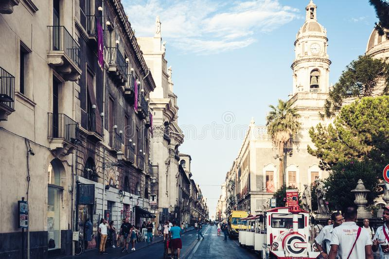 Catania, Sicily – august 09, 2018: people walk on historical street of the city, travel to Italy. People walk on historical street of the city, travel to royalty free stock photo