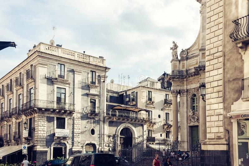 Catania, Sicily – august 8, 2018: people walk on historical street of the city, travel to Italy. People walk on historical street of the city, travel to stock photo