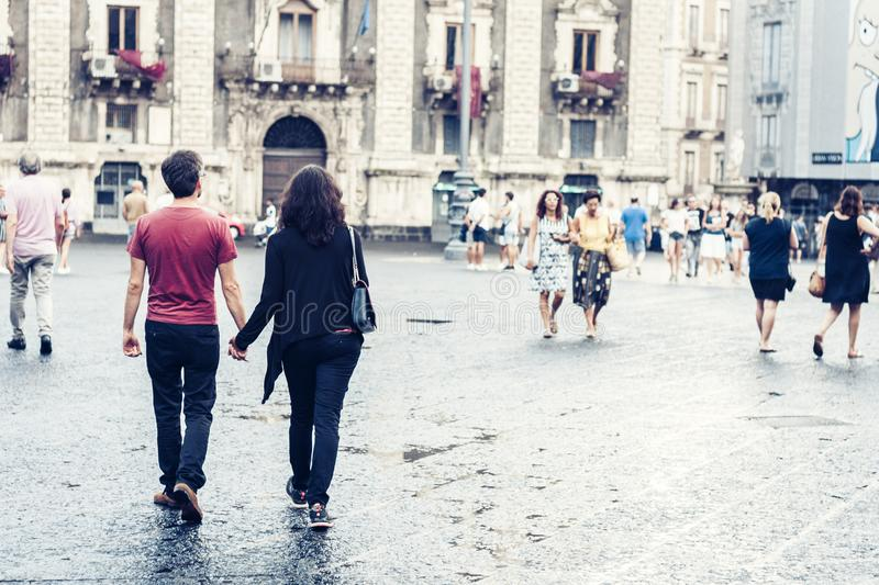 Catania, Sicily – august 15, 2018: people walk on historical street of the city, travel to Italy.  stock photos
