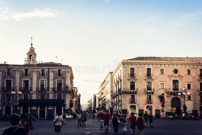 Catania, Sicily – august 09, 2018: people walk on historical street of the city, travel to Italy. People walk on historical street of the city, travel to stock photography