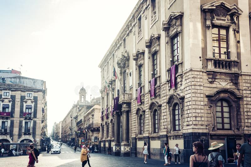 Catania, Sicily – august 08, 2018: people walk on historical street of the city, travel to Italy. People walk on historical street of the city, travel to stock photography