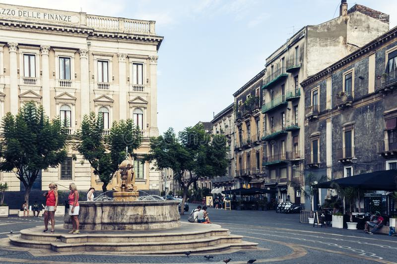 Catania, Sicily – august 08, 2018: people walk on historical street of the city, travel to Italy. People walk on historical street of the city, travel to stock photos