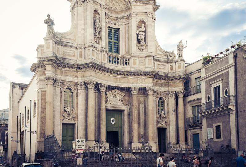 Catania, Sicily – august 08, 2018: people walk near old cathedral, famouse baroque church. People walk near old cathedral, famouse baroque church stock photos