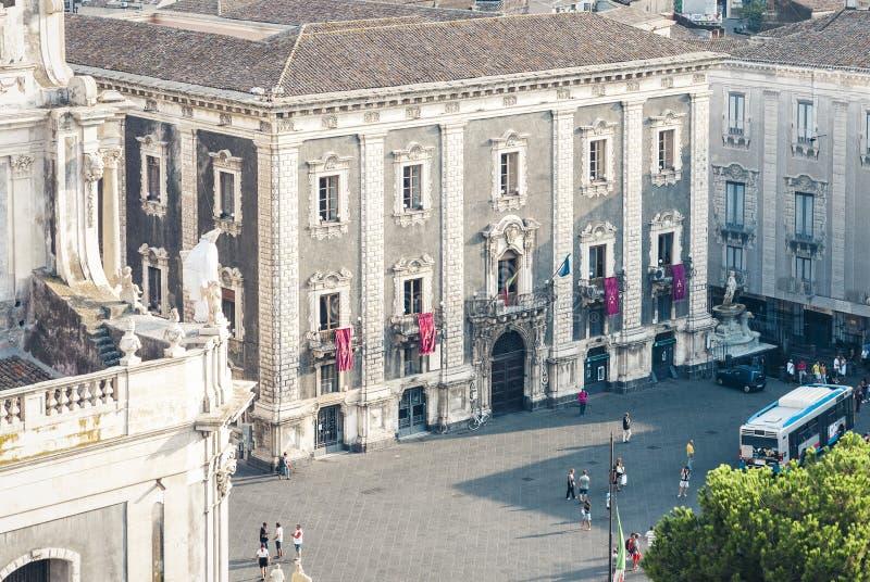 Catania, Sicily – august 08, 2018: aerial cityscape, piazza del Duomo, travel to Italy. Aerial cityscape, piazza del Duomo, travel to Italy royalty free stock photos