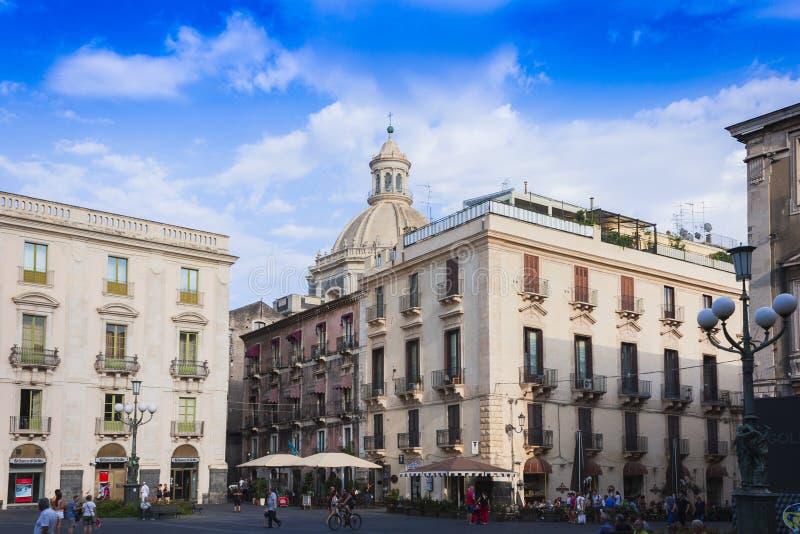 Catania, Sicily, Italy – august 08, 2018: people walk on the main street of the city, Via Etnea.  stock photo