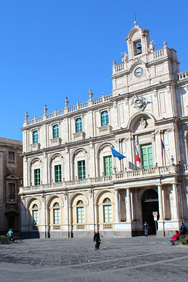 Catania, Sicily, Italy - Apr 10th 2019: Amazing front side exterior of the historical building of Catania University. Captured on a vertical photography with stock images