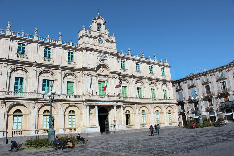 Catania, Sicily, Italy - Apr 10th 2019: Beautiful Piazza Universita Square with dominant historical building of Catania University. Oldest university in Sicily royalty free stock photography