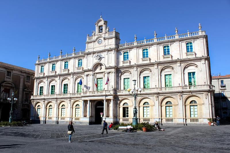 Catania, Sicily, Italy - Apr 10th 2019: Historical building of the Catania University in the city centre. It is the oldest. University in Sicily. Located on stock images