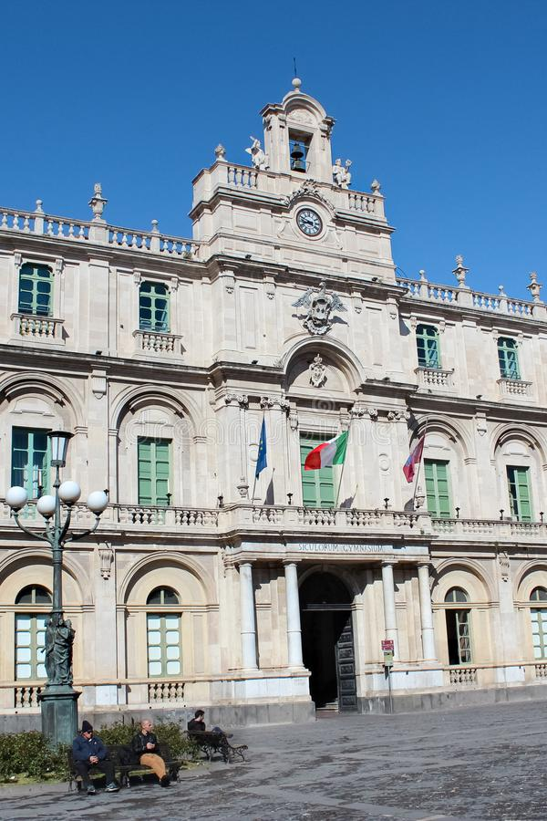 Catania, Sicily, Italy - Apr 10th 2019: Vertical photography capturing the amazing historical building of Catania University. The oldest university in Sicily royalty free stock image
