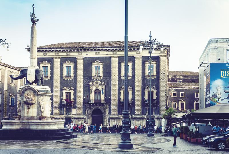Catania, Sicily, Italy – august 15, 2018: people near famous landmark on main square Piazza del Duomo in Catania, Sicily, Italy. People near famous royalty free stock photo