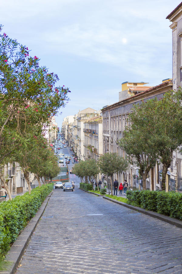 Catania street view. Evening street view from Catania, Italy stock images